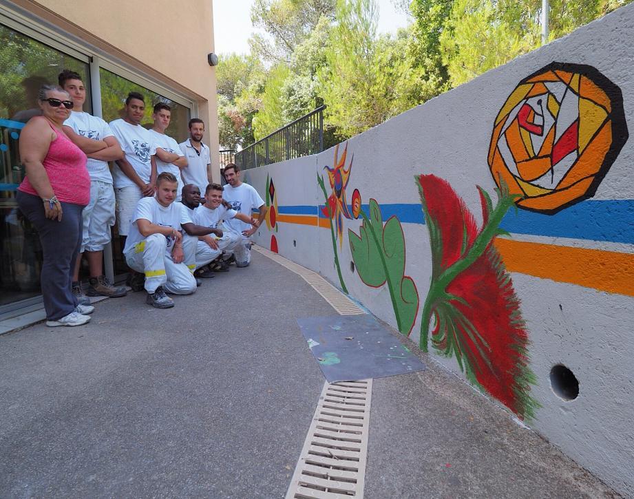 Neuf élèves du CFA BTP ont réalisé une fresque murale.