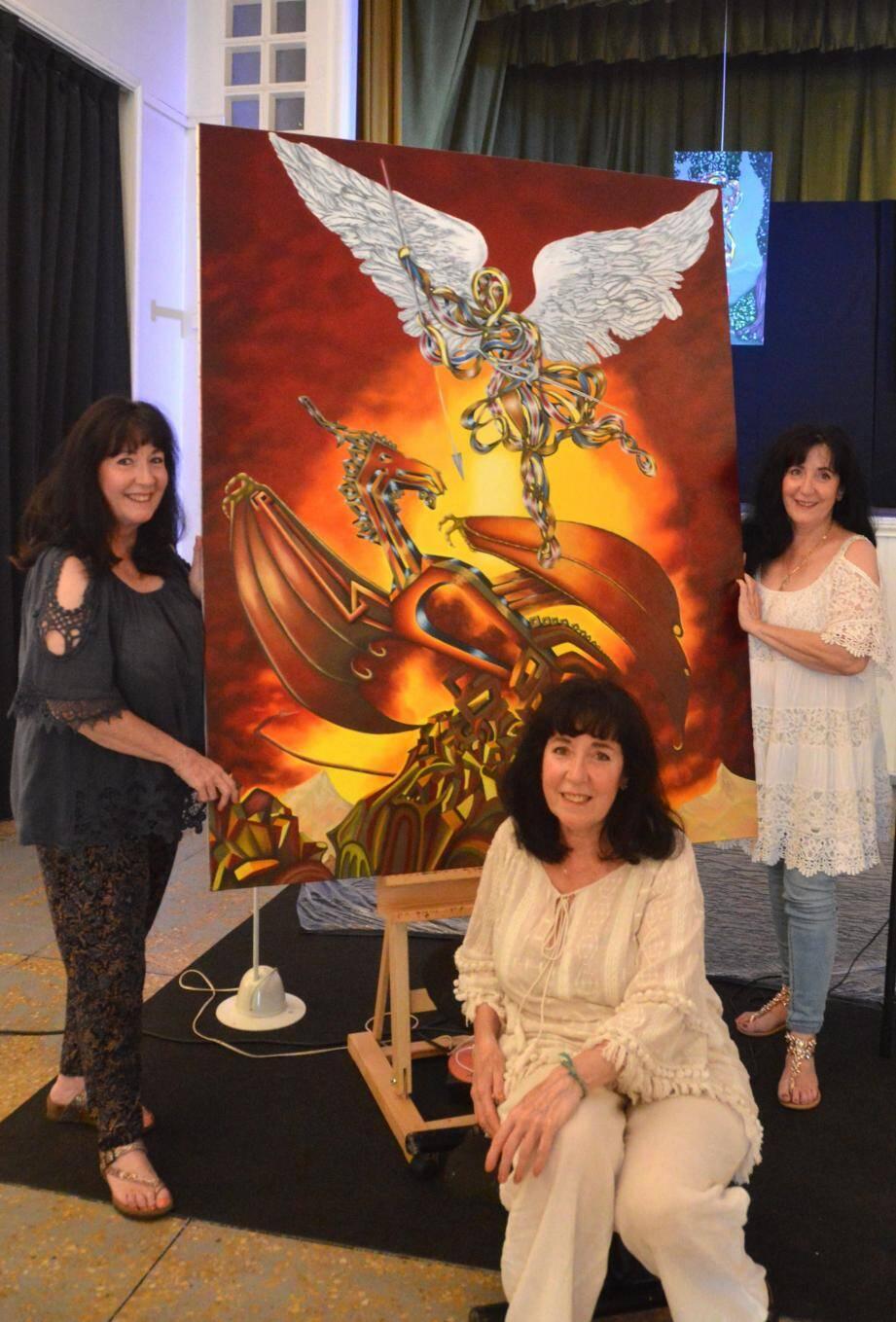 Lors de l'exposition qui se tient jusqu'au 28 juillet, elles peignent ensemble leur tableau en cours devant le public mercredi et samedi de 16 h à 21 h.