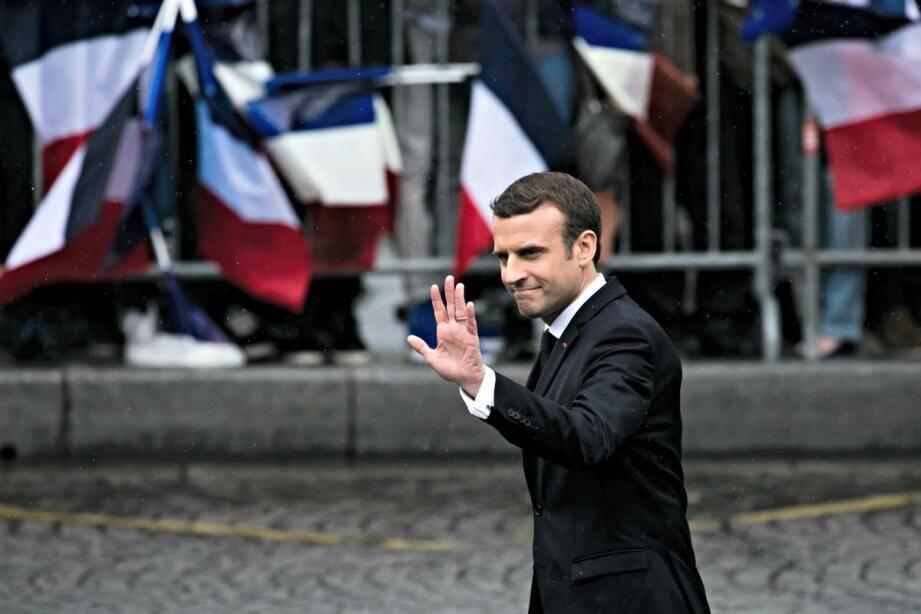 Emmanuel Macron le 14 mai sur les Champs-Elysées, lors de son investiture.