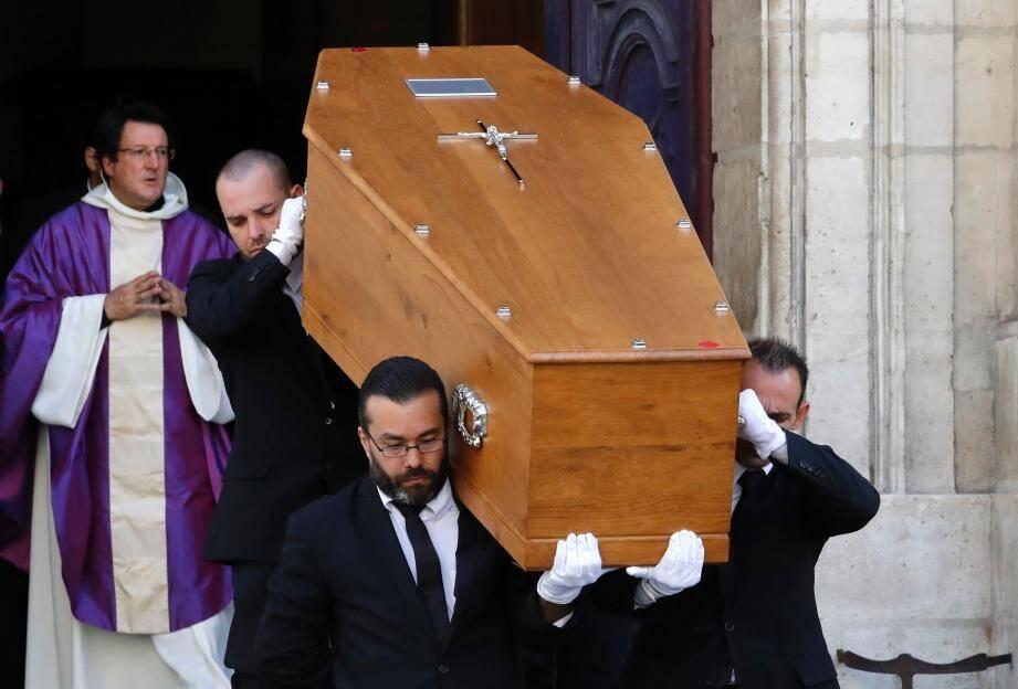 Le cercueil de Max Gallo lors de ses obsèques