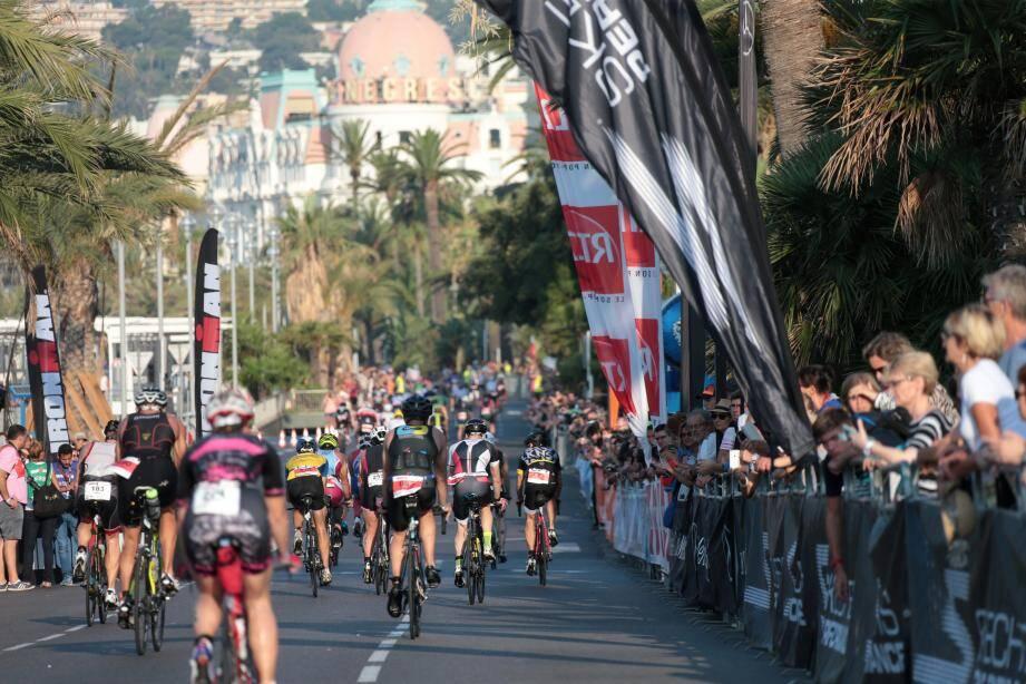 Lors de la 13e édition de l'Ironman de Nice.