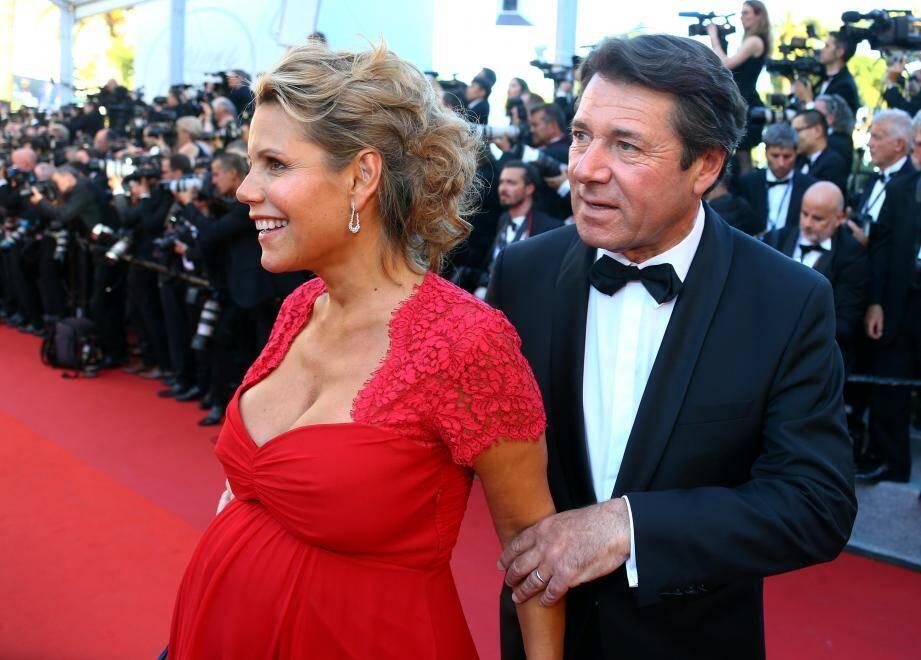 Christian Estrosi et son épouse, enceinte, au Festival de Cannes le 17 mai dernier.