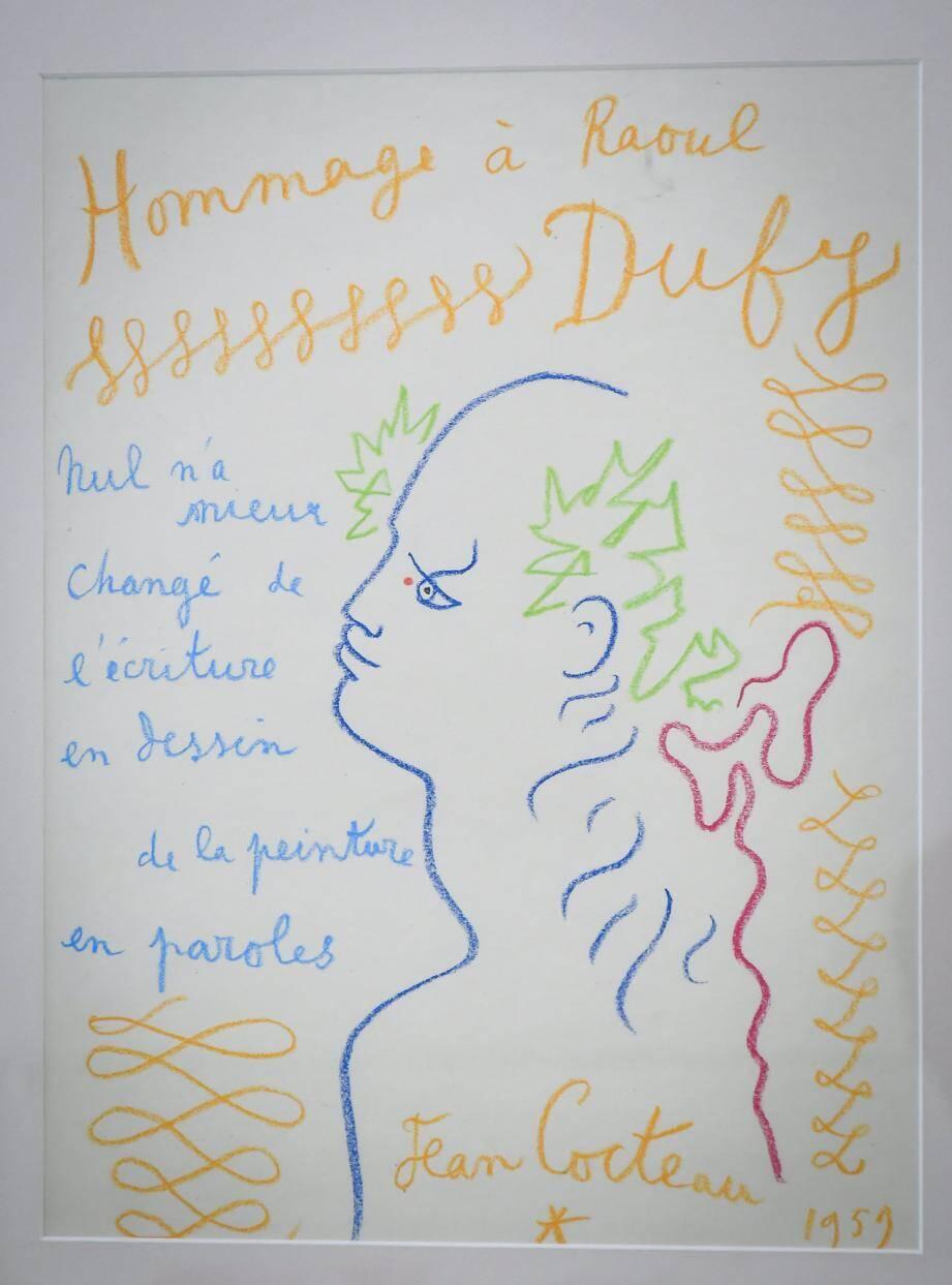 Cocteau dédie cette œuvre à Raoul Dufy en 1959.