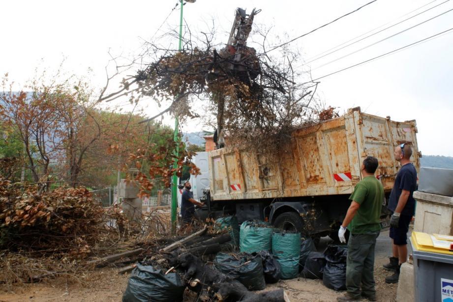 Une dizaine d'employés municipaux ont évacué les restes de l'incendie.