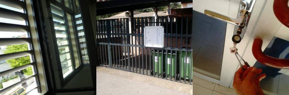 Pour protéger l'activité des écoliers, des brises-vue (à gauche) et quelques rehausses métalliques (au centre, le portail de l'école du Quatre-chemins-des-Routes à Toulon) ont été aménagés. La préfecture s'est aussi dotée d'un système de verrouillage électronique pour toutes les portes des établissements scolaires.