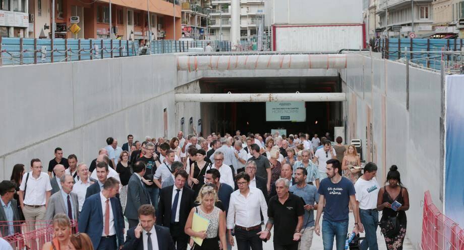 Cérémonie pour la fin du creusement de la ligne 2 du tramway de Nice