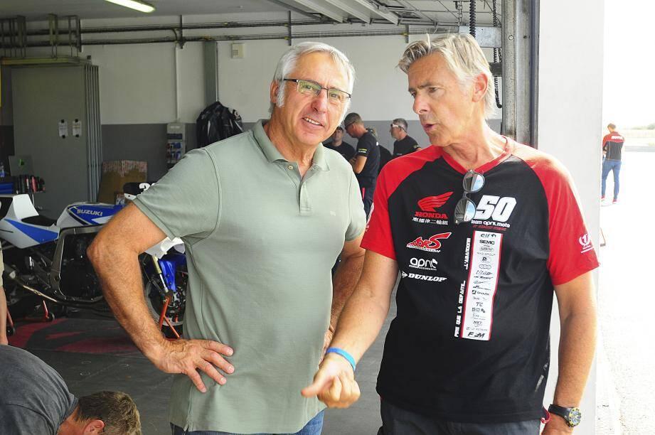 Hervé Moineau (ici avec l'ami Jacques Luc) appelle de ses vœux un Bol d'Or « constructif » pour la nouvelle Honda CBR1000RR du team April Motos-Motors Event confiée au trio Lagrive-Fastré-Guittet.