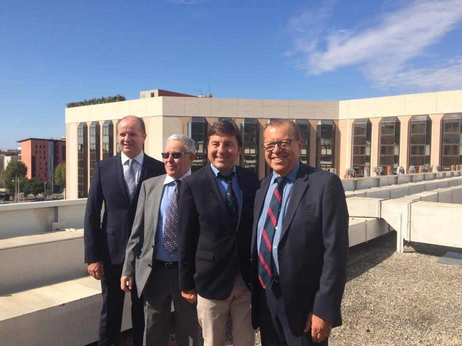 Paul Obadia et Frédéric Jourdan-Gassin (à droite) ont passé le relais à Marc Ippolito et Alain Defils, désormais président et directeur de Nicexpo.