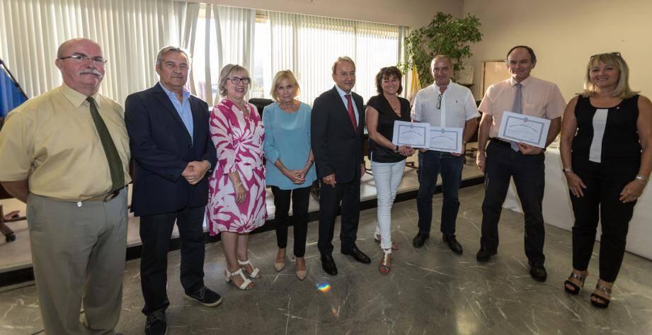 Les médaillés du travail ont été récompensés en présence du maire, Patrick Césari. (DR)
