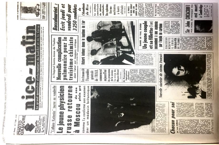 A la « Une » de Nice-Matin du 19 septembre 1967 : le drame du Val d'Oise émeut les familles, un couple et sa fillette sont asphyxiés chez eux.(DR)