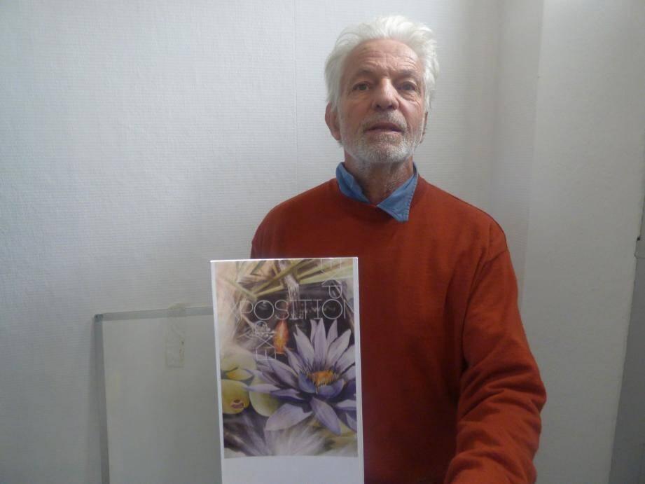 Gérard Abrial présente la toile qui lui a été volée.(C.G.)