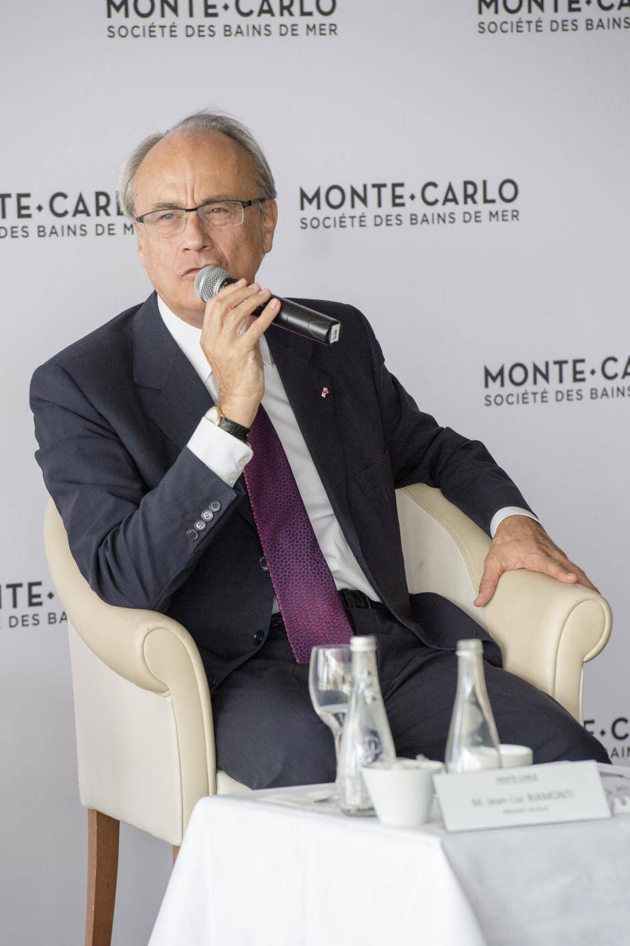 Jean-Luc Biamonti, président délégué de la SBM, hier, en conférence de presse dans la salle des Palmiers du Sporting d'été.
