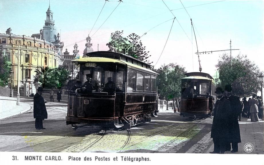 Au croisement de l'avenue de Monte-Carlo et l'avenue princesse Alice, au début du XXe siècle,  passaient les tramways.(Collection Jean-Paul Bascoul)