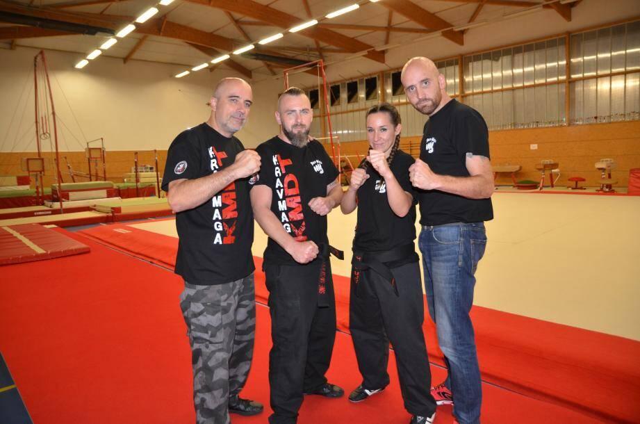 Entourés de leurs deux instructeurs du KMDT Mandelieu, Franck Barbé (à gauche) et Loïc Bitton, Lény Dourado et Stéphane Rigoulot se préparent pour leurs premiers championnats du monde.