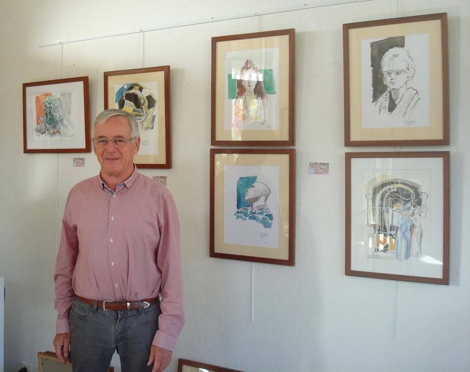 Bernard Pett, président de l'atelier académique expose aux côtés d'une dizaine d'artistes.