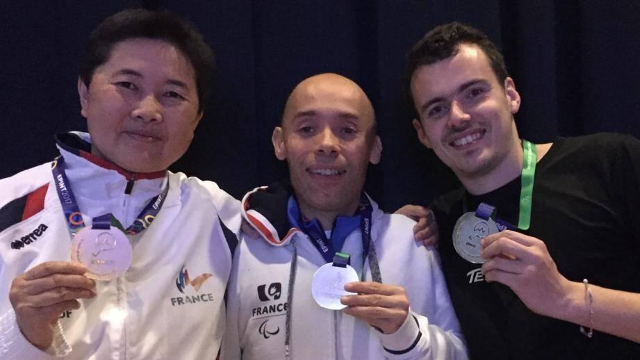 Thu Kamkasomphou, Stéphane Messi et Kevin Dourbecker ont décroché l'argent lors des championnats d'Europe.