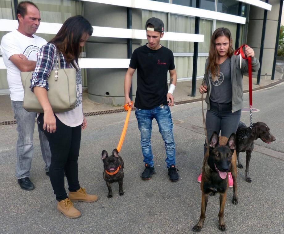 La famille présente trois chiens de trois races différentes : vive la passion !