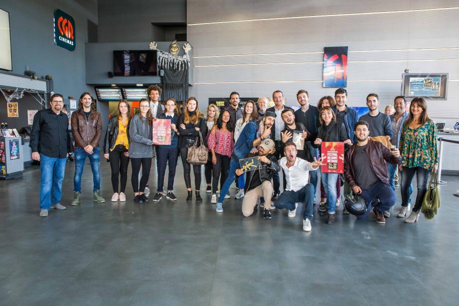 Le palmarès a été dévoilé dimanche matin au cinéma CGR par Gaël Delaite et Antoine Giacobbin (à gauche), en présence des réalisateurs et du maire, Richard Strambio.