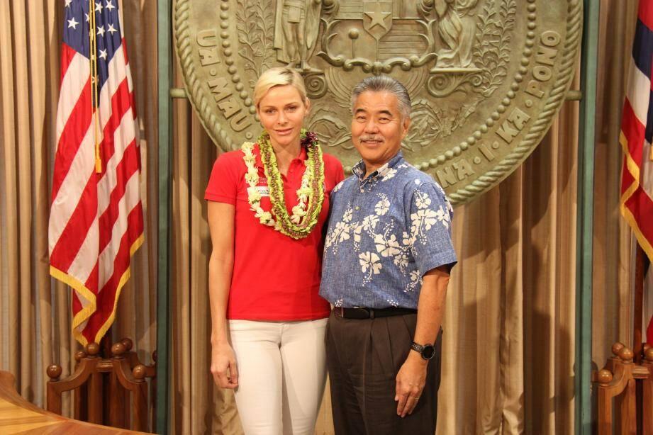 La princesse a rencontré, vendredi, le gouverneur du 50e état américain, David Y. Ige.(DR)