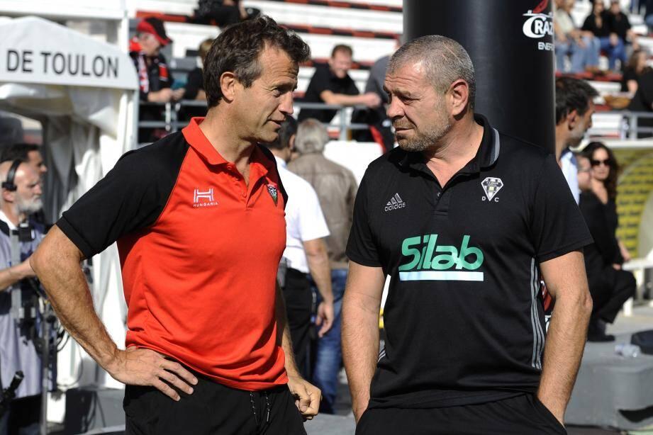 Fabien Galthié et Didier Casadeï avant match. Après coup, l'un comme l'autre peuvent avoir quelques satisfactions, mais aussi des regrets...