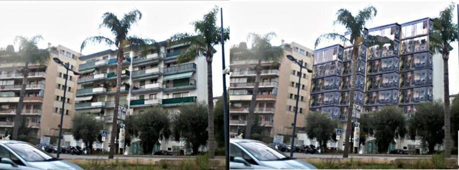 À droite, la résidence de l'Olivette aujourd'hui, à gauche, une projection après travaux.