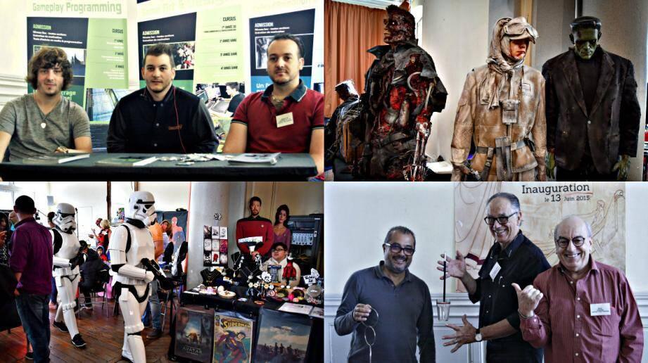 En haut à gauche: Fabien, Lucas et Mickael sont venus spécialement de Montpellier pour ce festival afin de présenter leur école Objectif 3D. En bas à droite: Les magiciens de la manifestation (de gauche à droite): Dominique Cinneri, Jean Pierre Guebet, Devil Magicien. Tous, comme le public, ont évolué le temps d'un week-end mentonnais au milieu des héros et super-héros de la science-fiction.