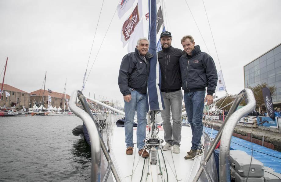 Bernard d'Alessandri, Boris Herrmann et Thomas Ruyant sur Malizia II - Yacht-Club de Monaco.