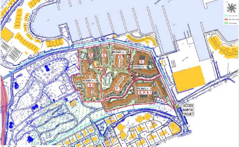 Plan de masse de la 1ère phase du projet, sur environ 5 ha. La Cogedim bénéficie d'une promesse de vente pour 98 480 m2, comprenant une partie ouest, pour laquelle rien n'a pour l'heure été présenté.