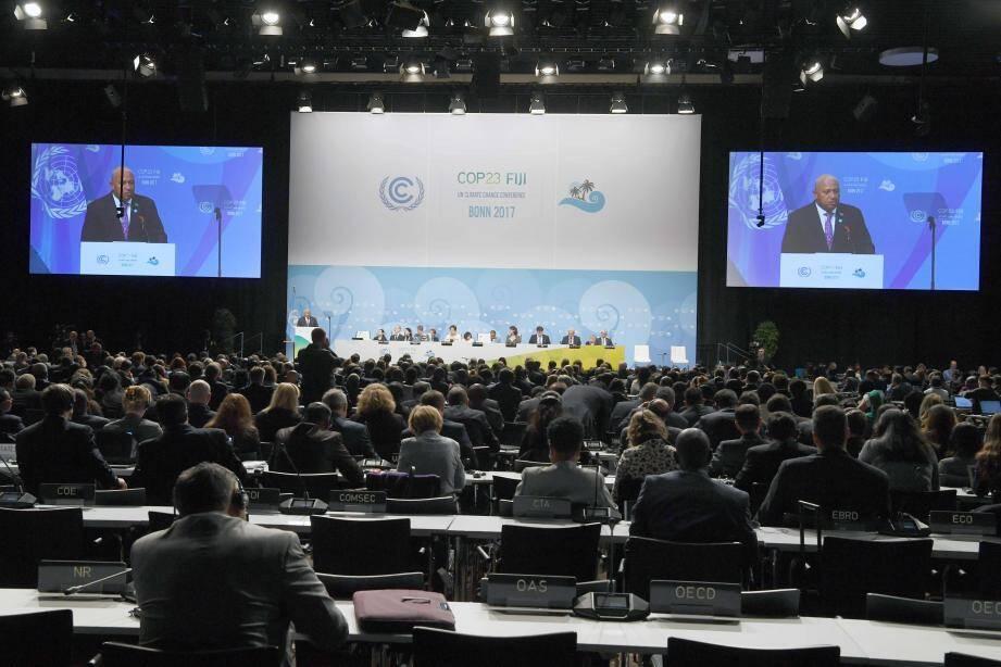 Frank Bainimarama, le Premier ministre des Fiji et président  de la COP23 lors de la séance d'ouverture.