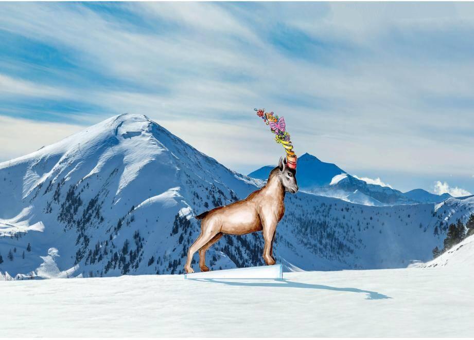Un bouquetin de 5 mètres de haut sera installé dans les jours à venir au sommet des pistes d'Isola 2000. Et un aigle géant sur les pistes d'Auron.(DR)