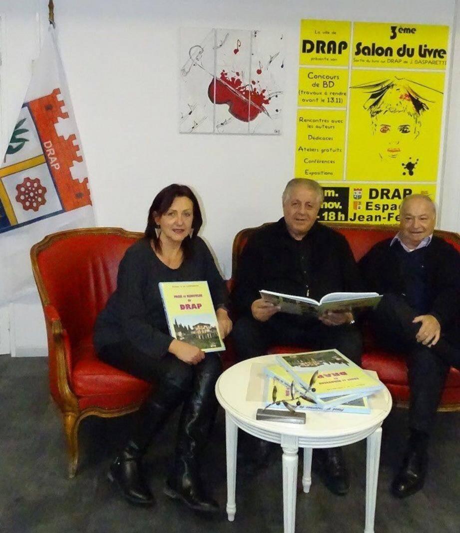 Robert Nardelli, Christine Decordier et Jo Gasparetti lancent le 3e Salon du livre.