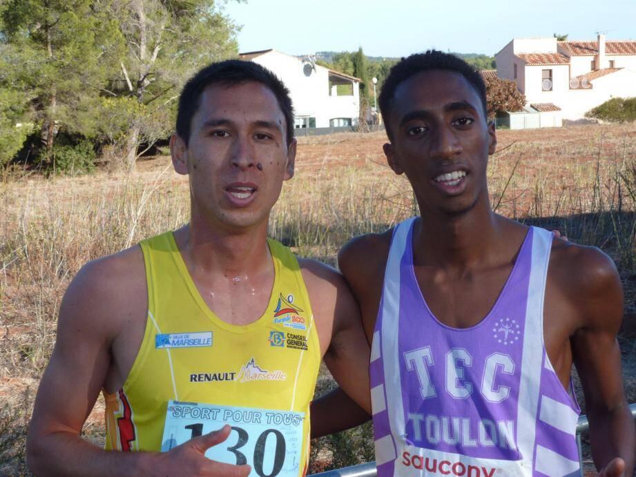 Le podium de la course des as, avec Émile Derrien et Ricardo Barbosa.