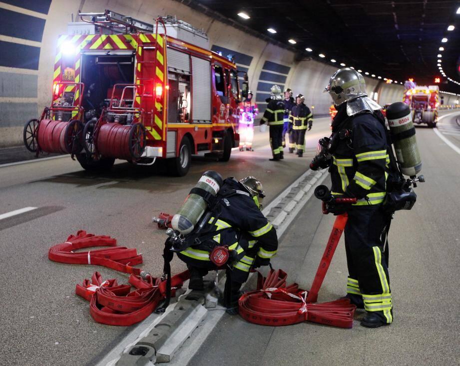 Lors d'un exercice de secours dans le tunnel A500 en 2014.