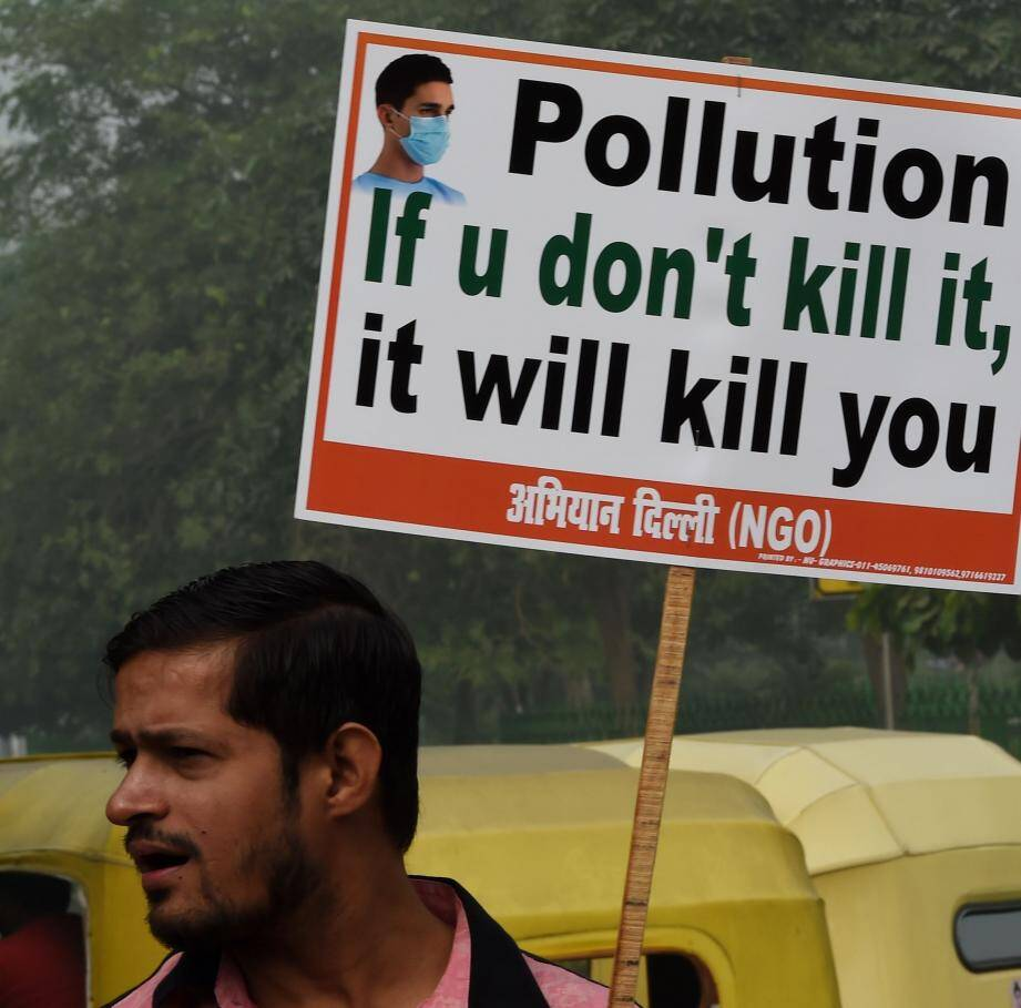 Manifestation contre la pollution en Inde, le 9 novembre.