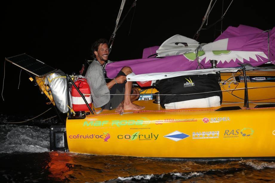 Le skipper cavalairois de 33 ans a réalisé sa première traversée transatlantique en solitaire.
