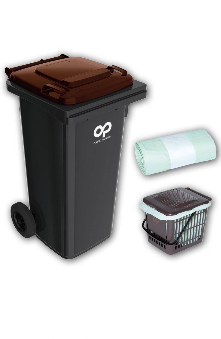 Les habitants vont recevoir un bac marron pour la collecte au porte à porte, un bio seau à utiliser dans leur cuisine et des sacs compostables. Ils peuvent aussi opter pour un composteur. (Repro. J.O.)