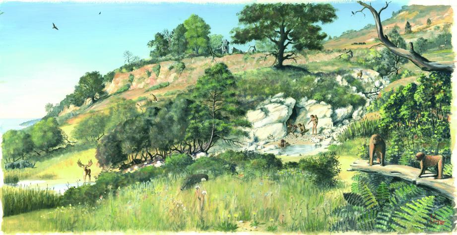 Il y a 1,2 million d'années, les premiers hommes se refugiaient dans la grotte du Vallonnet pour bivouaquer et manger les carcasses d'animaux laissées par les carnivores. Ils ne chassaient pas encore et n'avaient pas encore découvert le feu. (Dessin d'Eric Guerrier)