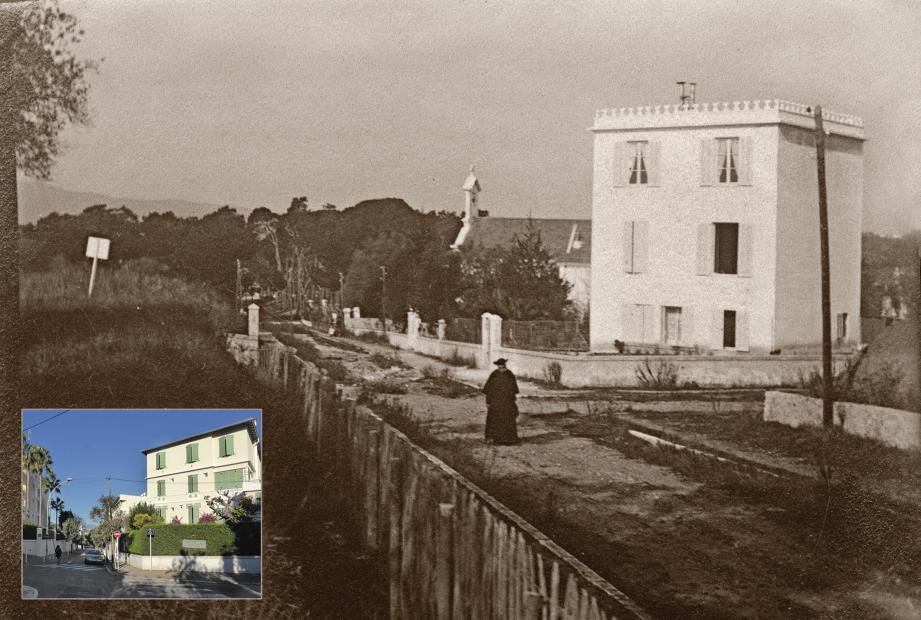 Le missionnaire Charles Launay en 1908 devant la villa Sainte-Paule devenue la résidence hôtelière Émeraude, avenue Saramartel. Le décor n'est plus le même aujourd'hui ! ( Document F. Uhrich)