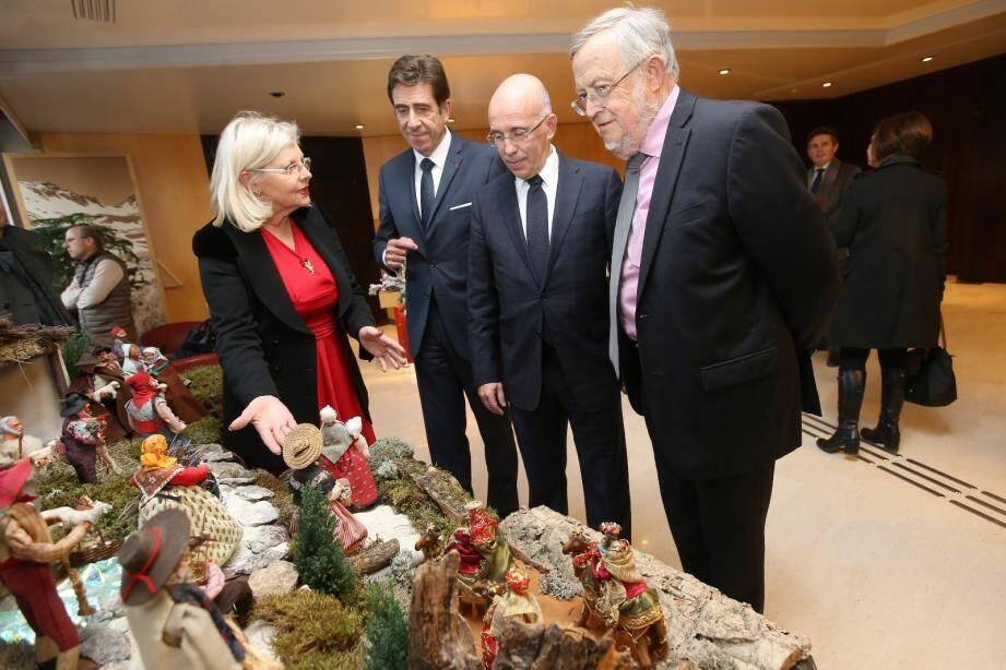 Christiane Ricort, Charles-Ange Ginésy, Eric Ciotti et le maire de L'Escarène, Pierre Donadey.(DR)