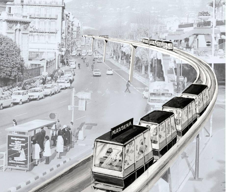 Le métro aérien tel qu'imaginé par Jacques Médecin dans les années 1970.