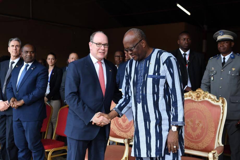 Le souverain monégasque et le président du Burkina Faso, Roch Marc Christian Kabore.