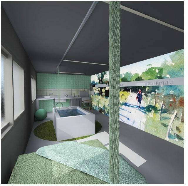 Lit, baignoire, lianes de suspension, ballon d'exercice, tapis confortables équiperont l'espace de préparation, le tout dans un cadre vert inspiré de la campagne et de la nature.