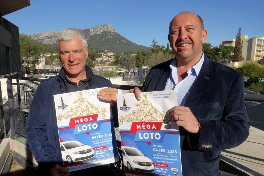 Georges Amitrano et André Senanedj (à droite) vous donnent rendez vous au 4 février pour le super loto du Rotary Club Toulon Levant.