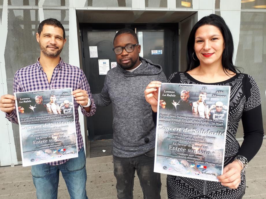 Simon Lenain (au centre de l'image) organise la deuxième édition du Concert de Solidarité, en partenariat avec Toulon Solidaire, représenté par Vanessa (a droite) et le centre social Toulon-est, dirigé par Hamid Tair (à gauche)