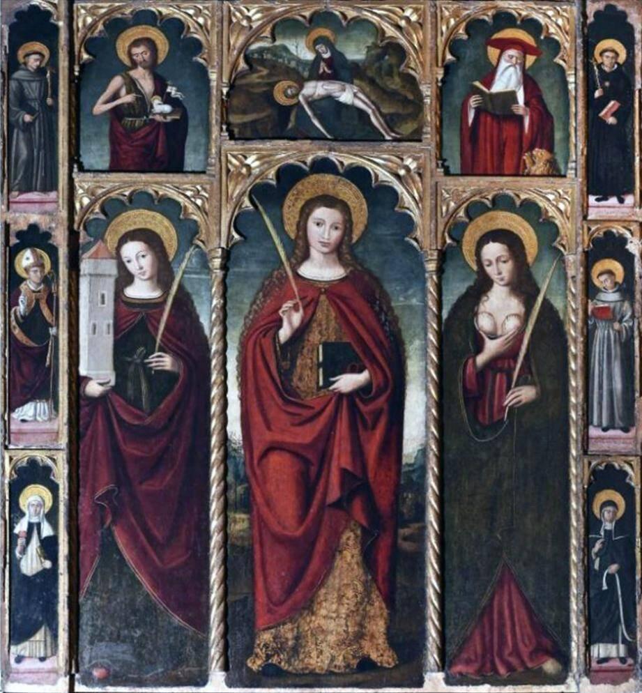 Le retable de Ste Dévote de Louis Bréa à Dolceacqua, en 1517.