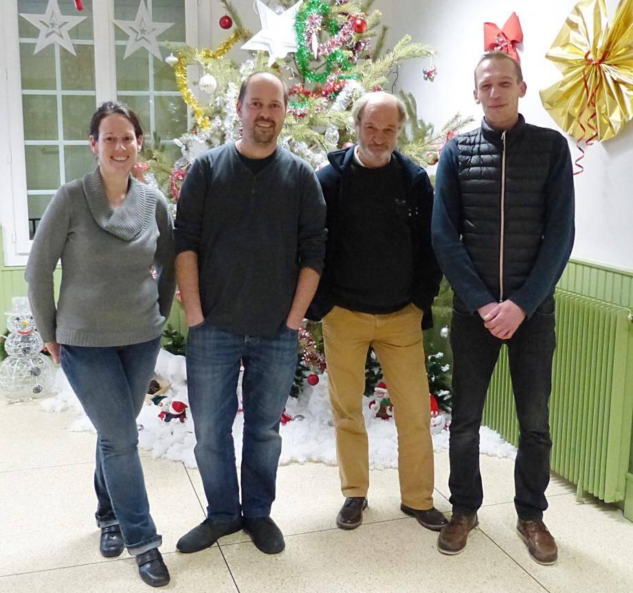 Aurélie Trichard (trésorière), Xavier Meyère (président), Jean-Éric Lovergne (vice-président) et Dimitri Dubourgnoux (secrétaire).(Photo Y. D.