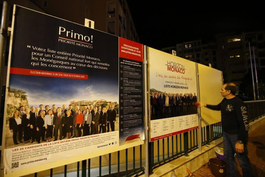 Primo ! a été la première à coller ses affiches, hier matin. Horizon Monaco et Union Moégasque ont attendu la nuit.