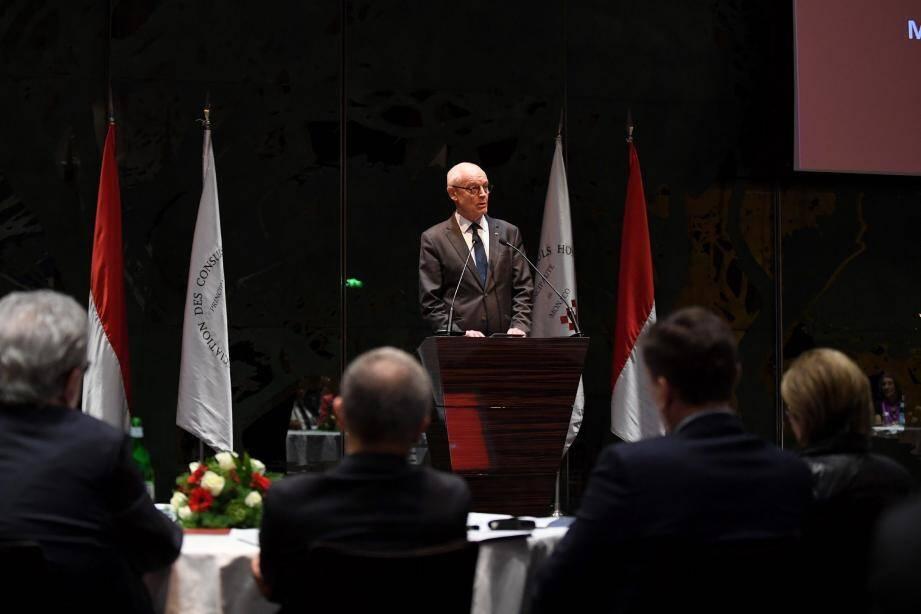 Clôture de la réunion plénière de l'Association des Consuls Honoraires de Monaco par le Ministre d'Etat, Serge Telle.