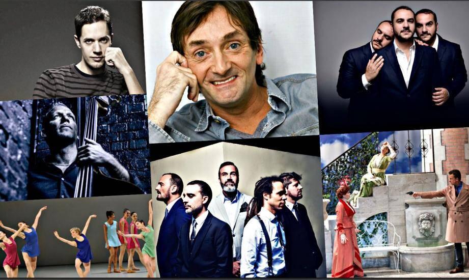 De gauche à droite: Grand corps malade, Pierre Palmade, François-Xavier Demaison, Avishai Cohen, Electro Deluxe, la pièce