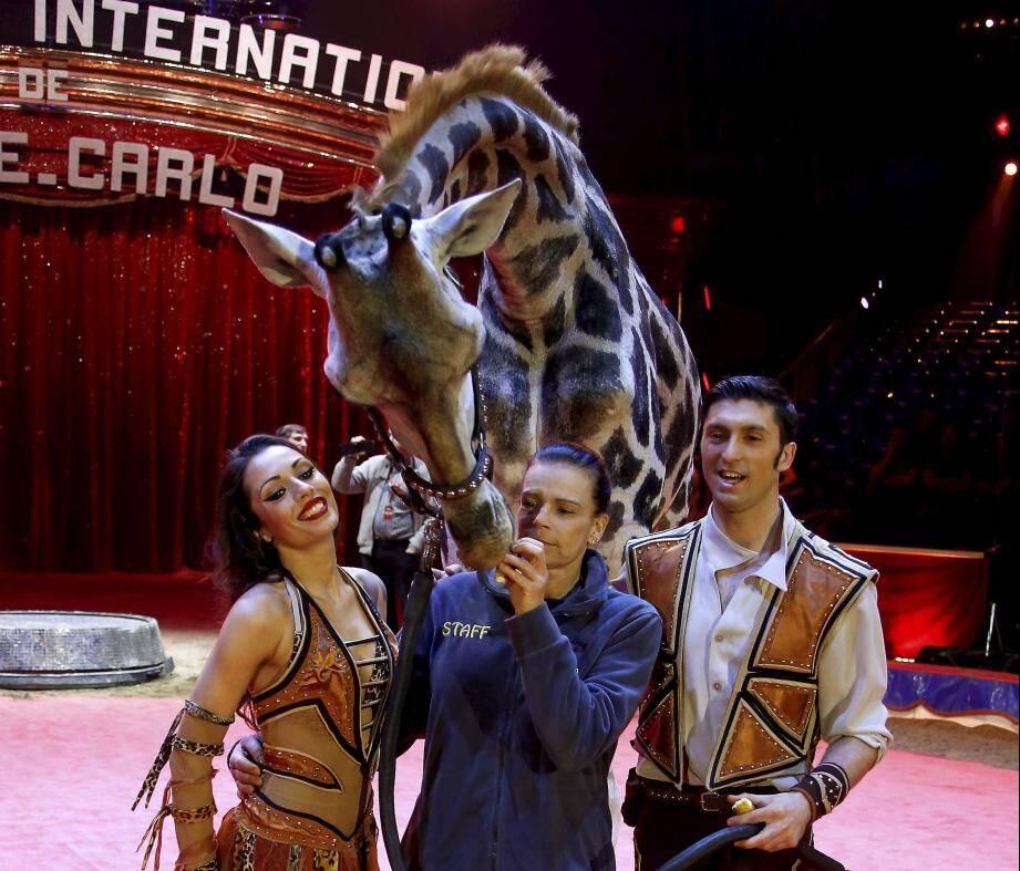 Lancement du cirque du 42 ème festival international du cirque de Monte-Carlo au chapiteau de l'espace Fontvielle en présence de la princesse Stéphanie.